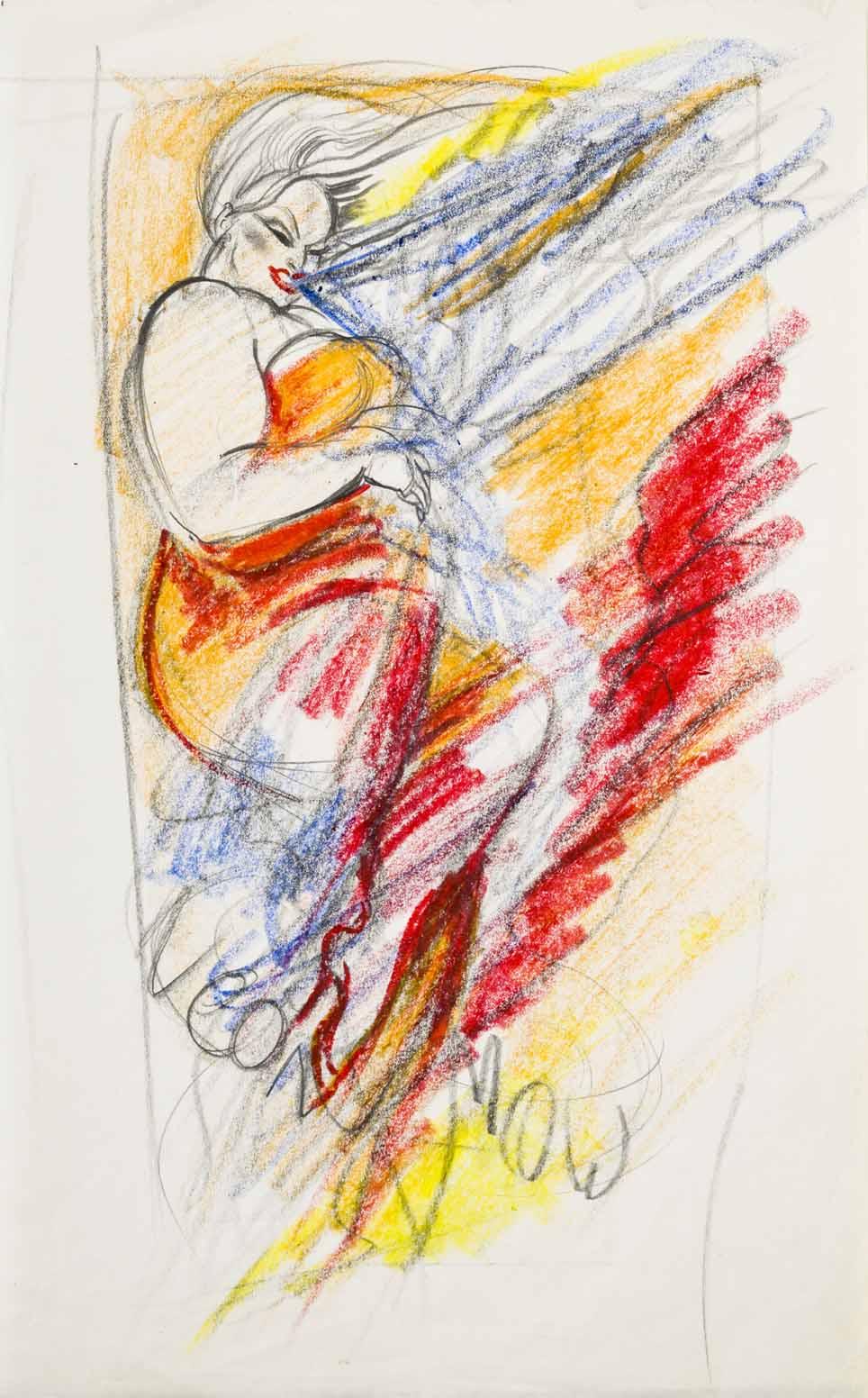 AL154_Divine,NeonWomanplay_1976_Crayonandpencilonpaper_16.88x10