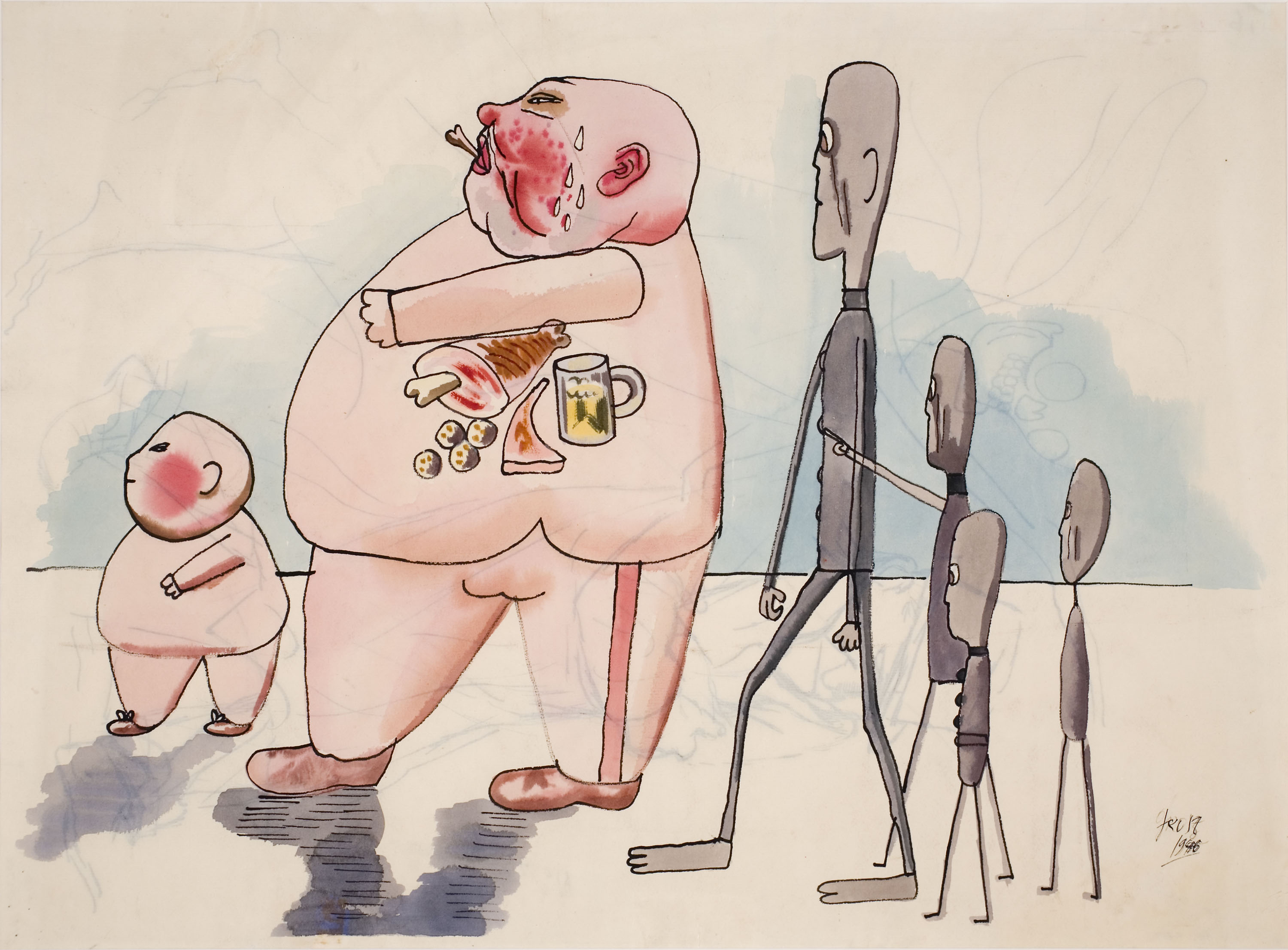 Keep Your Timber Limber, George Grosz, Stickmen meeting members of the bourgeois, 1946